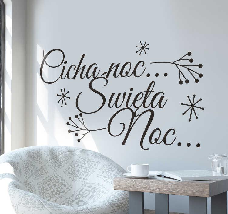 """TenStickers. Naklejka świąteczna Cicha noc. Naklejka świąteczna przedstawiająca tekst dobrze znanej nam kolędy: """"Cicha noc, święta noc"""" z płatkami śniegu wokół."""