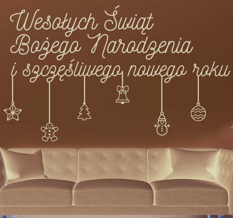 TenStickers. Naklejka życzenia świąteczne Nowy Rok. Naklejka ścienna z życzeniami do dekoracji powierzchni ściany w domu i cieszenia się tą piękną porą roku. Matowe wykończenie.