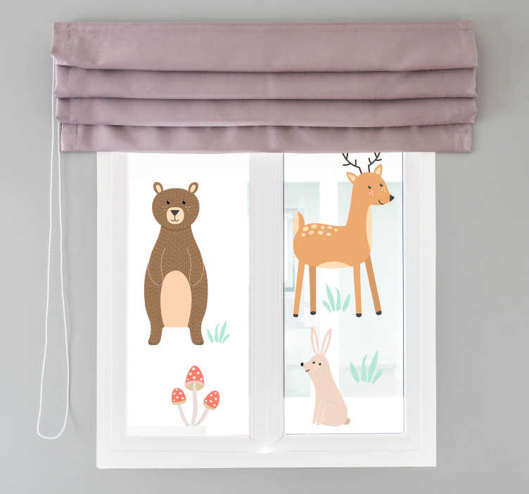 TenStickers. Forest animals window decal. Decorative window vinyl decal for kids room created with forest animals like thedear, rabbit and plants in beautiful colours to make kids happy..