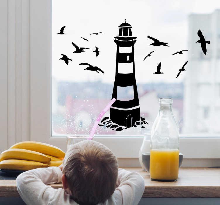 TenStickers. stickers de fenêtre de phare. autocollant décoratif de fenêtre de phare avec la conception d'oiseaux et vous pouvez appliquer la conception de la manière qui vous convient dans n'importe quelle couleur de votre choix.