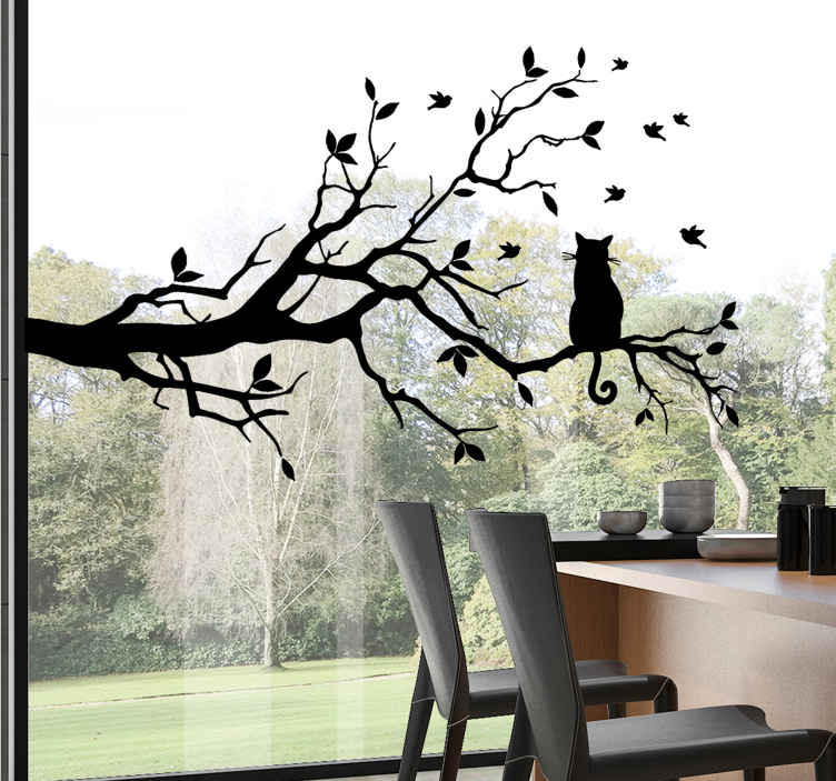 TenStickers. Cat on tree window decal. Decorate your window with our tree with branches and leaves with a cat sitting on it and you can enjoy this pretty design in any colour and size.