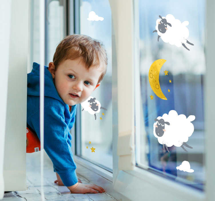 TenStickers. Moon and stars window decal. Easy to apply decorative window vinyl sticker design of stars, moon and cloud in pretty colours and in appearance that will please any child.