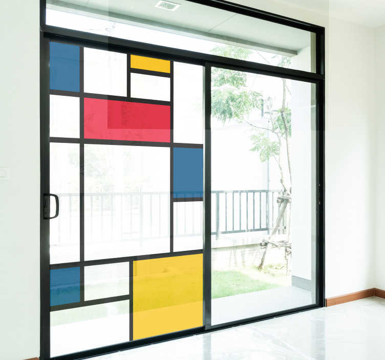 TenStickers. Mondrian art window decal. Easy to apply window vinyl sticker created with multi colour shapes of square and rectangles  and positioned on a horizontal and vertical position.