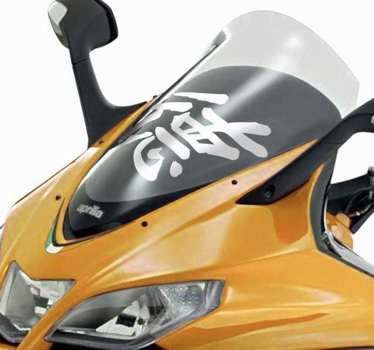 TenStickers. Motorrad Aufkleber chinesisches Zeichen. Dekorativer Aufkleber: Gestalten Sie Ihr Motorrad mit diesem Sticker des chinesischen Zeichens für Tugend