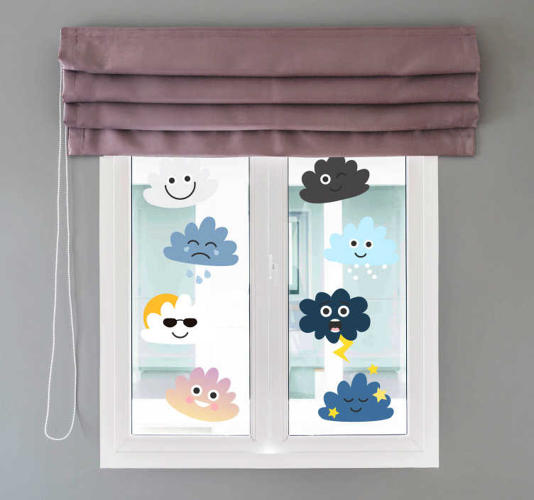 TenStickers. Clouds with faces kids wall art. Happy cloud, stormy cloud, snowy cloud, you'll be on cloud nine with these stickers.  This pack of clouds are the cutest clouds we've ever seen.