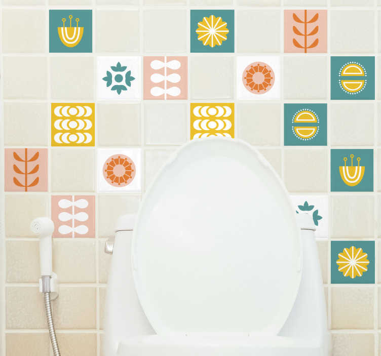TenStickers. Norwegian Tile Bathroom Decal. Turn your bathroom in your favourite part of the house with this beautiful bathroom tiles sticker with different images and colors!