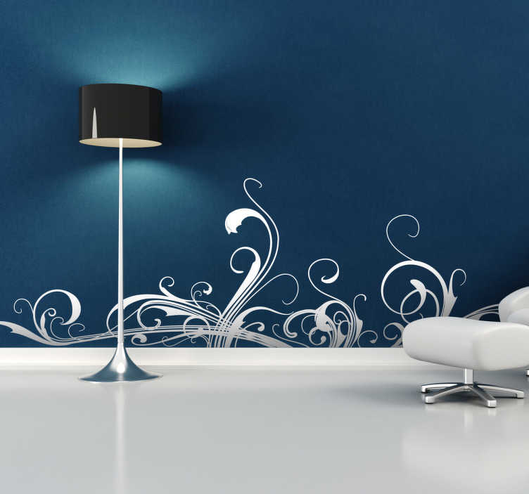 TenStickers. Floral Wall Decal. Superb floral wall sticker with a swirling pattern that will give your wall a touch of originality! Decorate your bedroom or living room and create the atmosphere desired! Easy to apply made with anti-bubble vinyl.