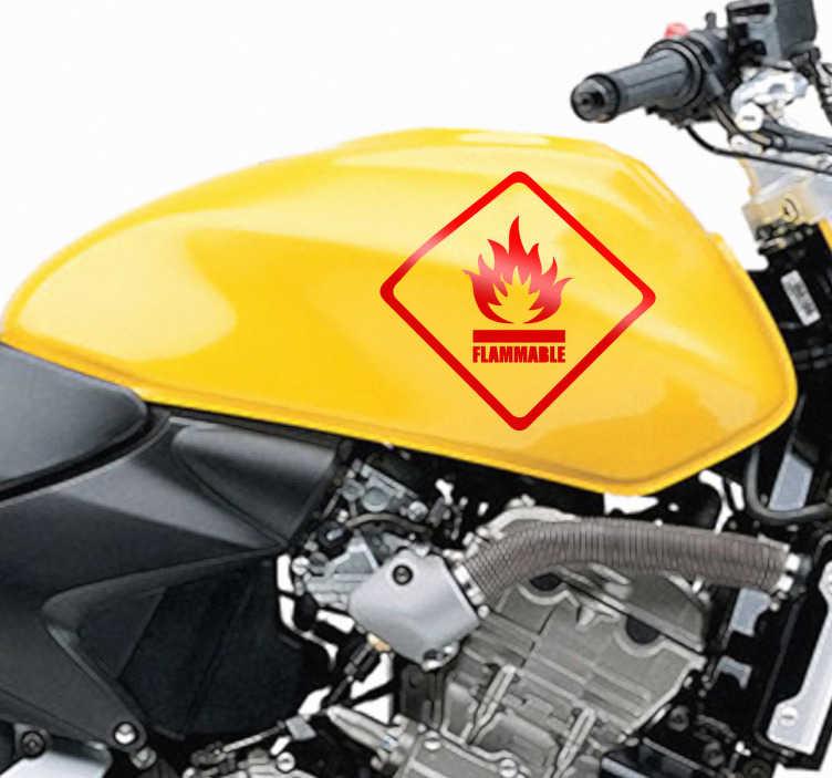 TenStickers. Sticker pictogramme inflammable. Stickers à déposer sur le réservoir à essence pour signaler qu'il s'agit d'un combustible inflammable dangereux.