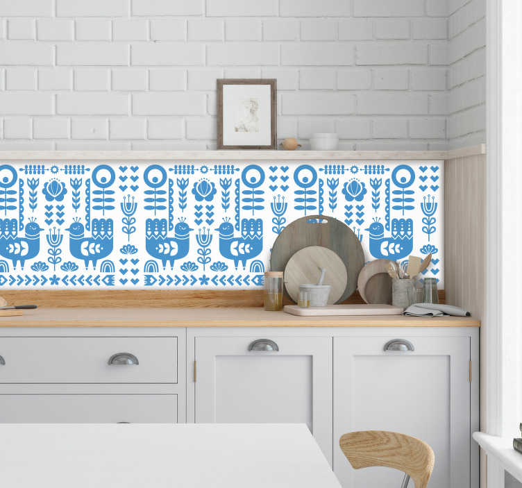 TenVinilo. Cenefa decorativa estilo noruego. ¡Personaliza tu cocina de una manera muy original con esta increíble cenefa para cocina con un patrón formado por figuras de arte noruego popular!