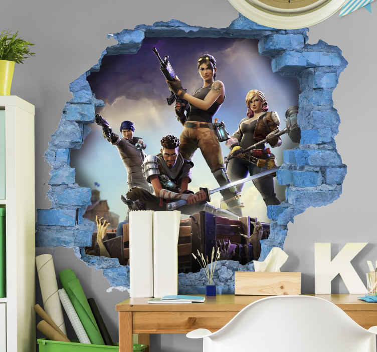 TenStickers. 3D fortnite character video game wall sticker. The perfect 3D sticker for you! If you are a fortnite fan then you'll definitely love this sticker. Zero residue upon removal. Easy to apply!