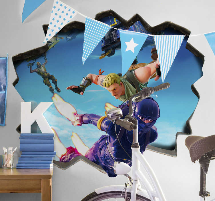 TenStickers. 3D fortnite parachuting video game sticker. Get your 3D Fortnite sticker now! A superb design with a 'break through' wall effect. Application of this video game sticker is a simple process!
