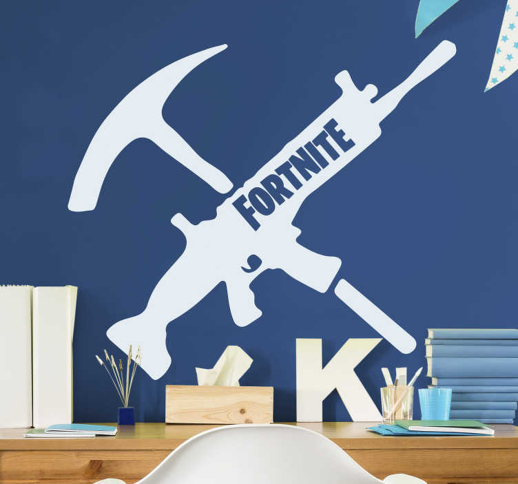 TenStickers. Fortnite weapons video game wall sticker. Decorate your walls with this fantastic Fortnite sticker! A gun and a pickaxe with the word fortnite on the gun. Order yours now!