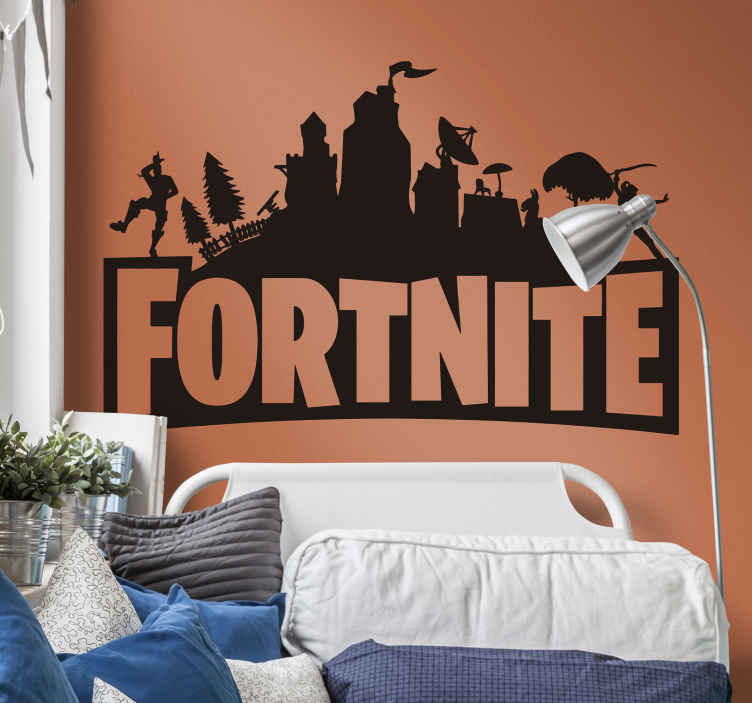 TenStickers. Muurstickers games Fortnite tekst. Een prachtige Fortnite silhouette sticker die u of uw kind(eren) absloluut geweldig zullen vinden. Gemakkelijk aan te brengen.