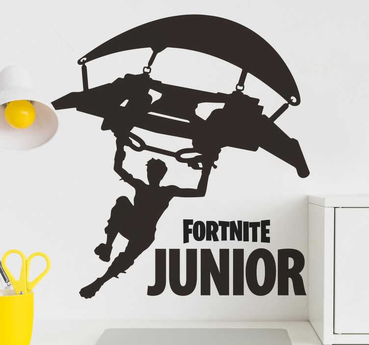 TenStickers. Parachute personalised fortnite sticker. Not only is it a fantastic design, this video game sticker can also be customised with your own name, or your kid's name, how cool is that?