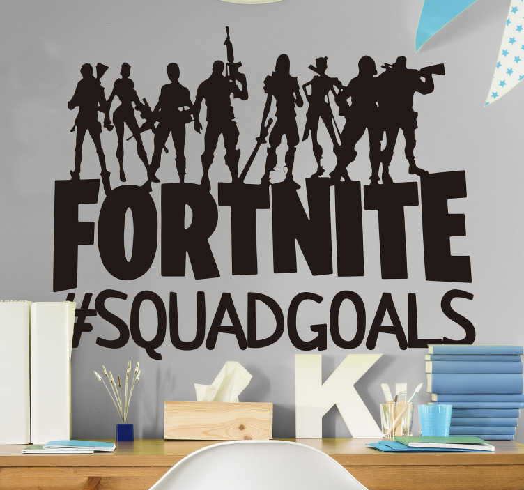 TenStickers. Squad goals fortnite video game sticker. Are you and the squad totally goals? Let everyone know with this fortnite sticker. Depicting a cool squad of characters who are definitely squad goals