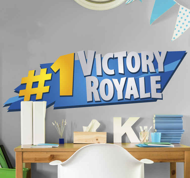 TenStickers. Victory Royal Fortnite video game sticker. There's no better feeling than coming 1st in Battle Royale and becoming the champion! This is the perfect fortnite video game sticker for you.