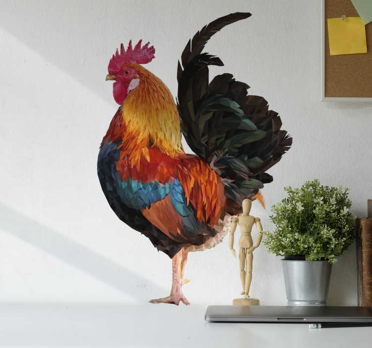 TenStickers. Rooster drawing farm animal decal. Decorative and easy to apply wall vinyl sticker of a farm animal that features a roaster on it with a polygonal geometric glassy texture.