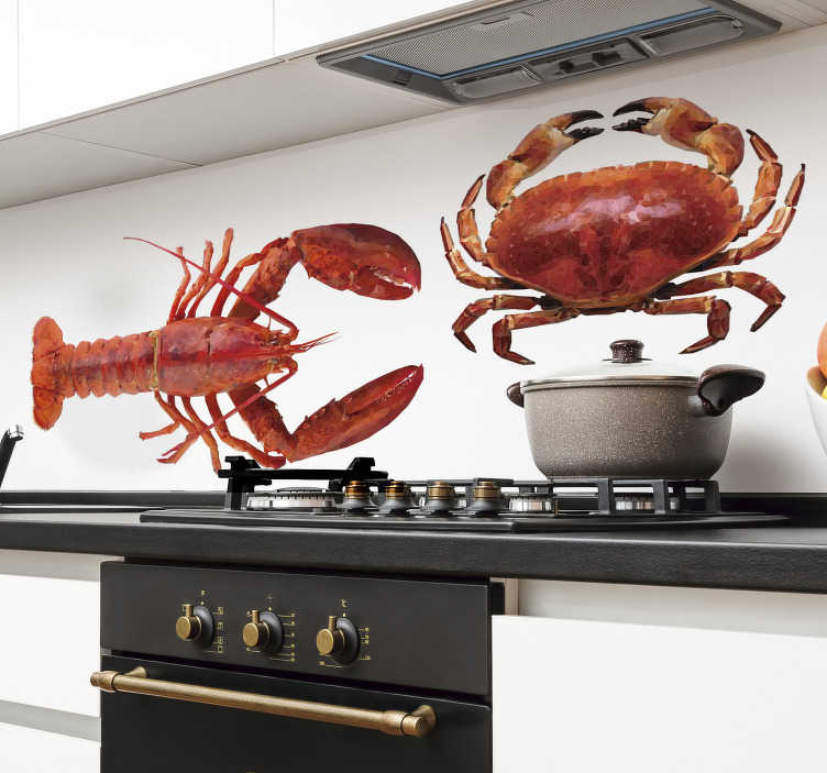 TenStickers. Seafood drawing fish wall decal. Decorative and easy to apply home wall kitchen decal of seafood with the feature of a huge shrimp and crab. Easy to apply on any flat surface.