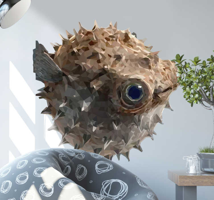 TenStickers. Polygonal drawing puffer fish fish wall decal. Easy to apply decorative wall vinyl sticker with puffed polygonal fish style in pretty colour to decorate the wall space in the home.