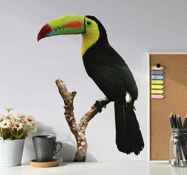 TenStickers. Toucan drawing bird sticker. Easy to apply decorative wall sticker of a toucan bird on a tree in pretty colorful prints and suitable for any wall space in the home.
