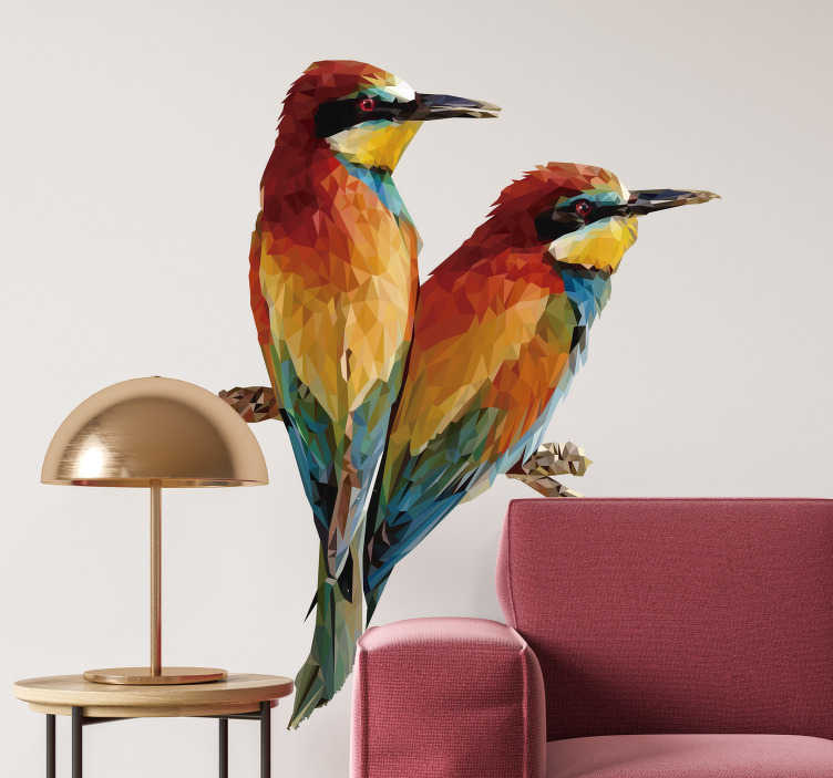 TenStickers. Bird couple bird decal. Easy to apply decorative wall vinyl decal of two parrot in colorful prints ideal for every wall space in the home. The application is very easy.