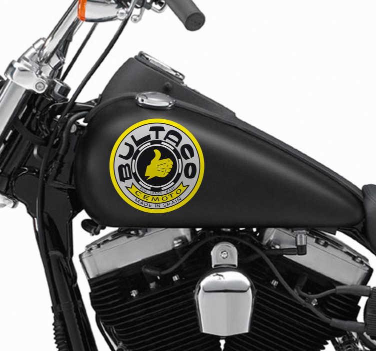 """TenStickers. Sticker pour moto bultaco. Un sticker original représentant le logo de la marque espagnole de motos """"Bultaco"""", pour tous les amoureux des marques de motos."""