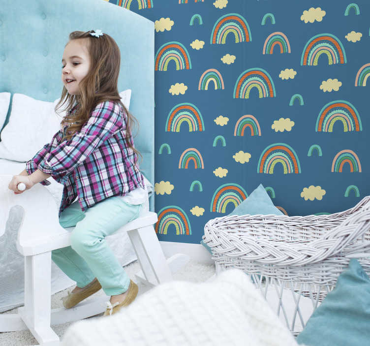 TenStickers. Children's rainbow wall mural decal. Wall mural sticker of rainbow in colorful background ideal for the space of any kid. An illustrative design for learning.