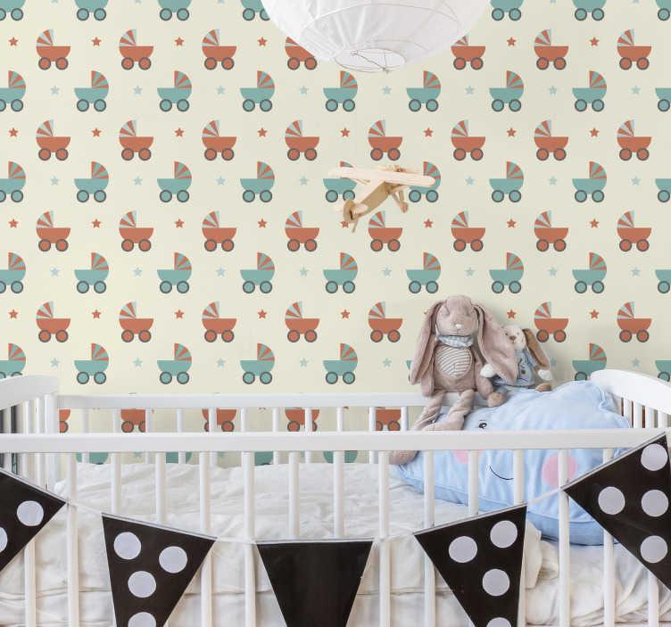 TenVinilo. Mural adhesivo cochecitos infantiles. Fotomural adhesivo para la habitación de un bebé formado por el diseño de cochecitos y estrellas sobre un fondo color crema. Precios imbatibles.
