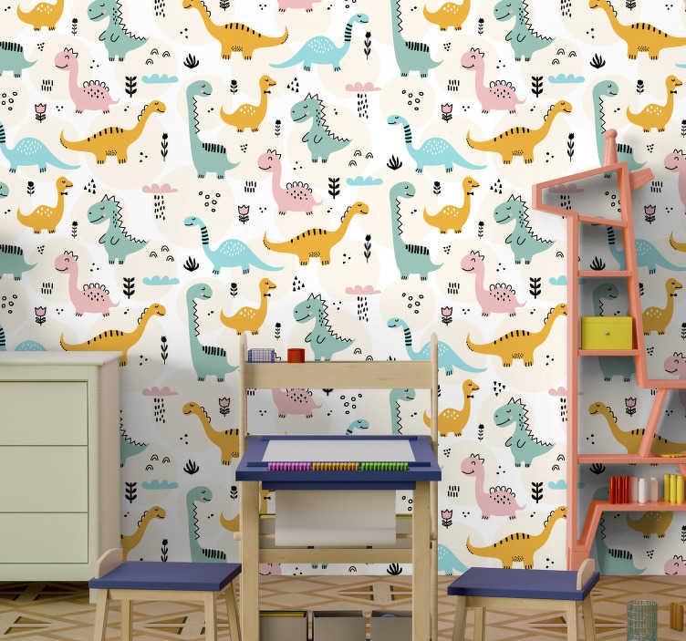 TenStickers. 화려한 공룡 벽 벽화 데칼. 식물 과이 멀티 컬러 아기 공룡으로 아이 방의 공간을 장식하고 예쁜 배경 모양에 비가 내리는 구름.