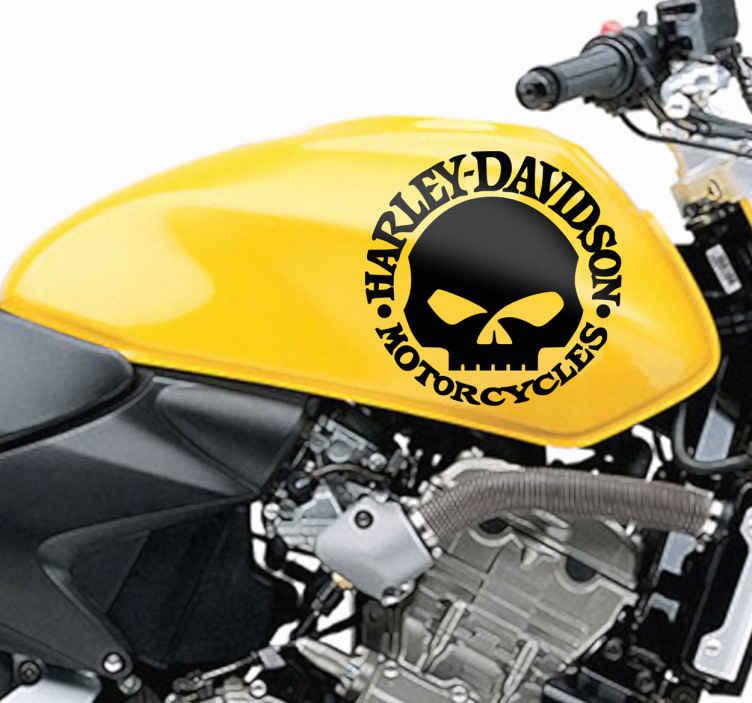 TenVinilo. Vinilo logo Harley Davidson calavera. Vinilo decorativo del logotipo de Harley Davidson Motorcycles con una calavera en el interior. Ideal para customizar tu motocicleta.