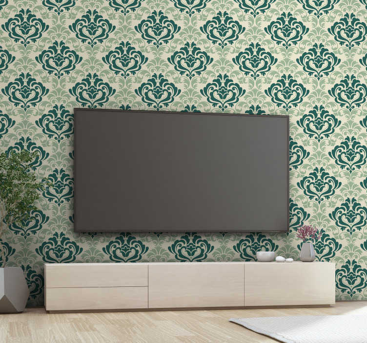 TenStickers. Green floral filigree wall mural decal. Decorative wall mural sticker design of ornamental filigree flower plant in green colour to add aesthetic touch to the wall space in the home.