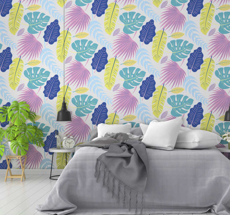 TenStickers. Tropical flowers wall mural decal. Easy to apply wall mural sticker of tropical plant in it pretty colour appearance to cover and decorate the wall space in the home.