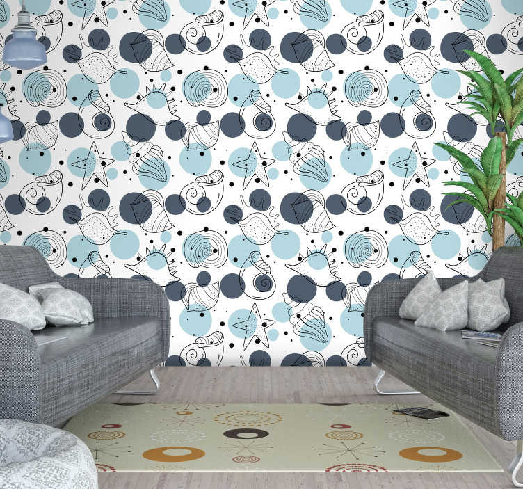 TenStickers. Seabed wall mural decal. Decorative wall mural sticker design of sea animals like the snails, starfish, crabs and more in simple colour to decorate the living room .