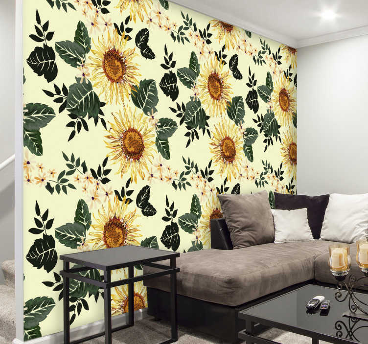 TenStickers. Illustrated sunflowers wall mural decal. Easy to apply decorative wall mural sticker design of a sunflower in brilliant yellow to cover and beautify the wall surface in the home.