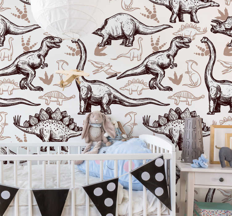 TenStickers. Dinosaurs illustration wall mural decal. Decorative wall mural sticker of dinosaurs in different type with appealing colour to beautify the wall surface in the home especially the kid's room.
