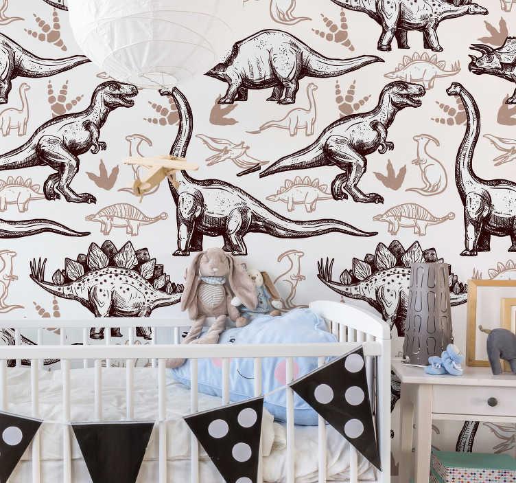 TenVinilo. Vinilo infantil adhesivo dinosaurios . Vinilo decorativo de dinosaurios en diferentes tipos con colores atractivos para embellecer la superficie de la pared en el hogar, especialmente en la habitación de los niños.
