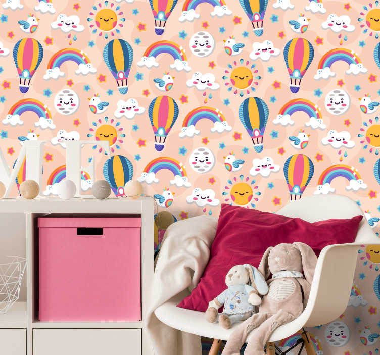 TenStickers. Children colored stars wall mural decal. Easy to apply wall mural sticker of colourful space for kids that features the star, moon, rainbow, air balloon and birds in colourful funny faces.