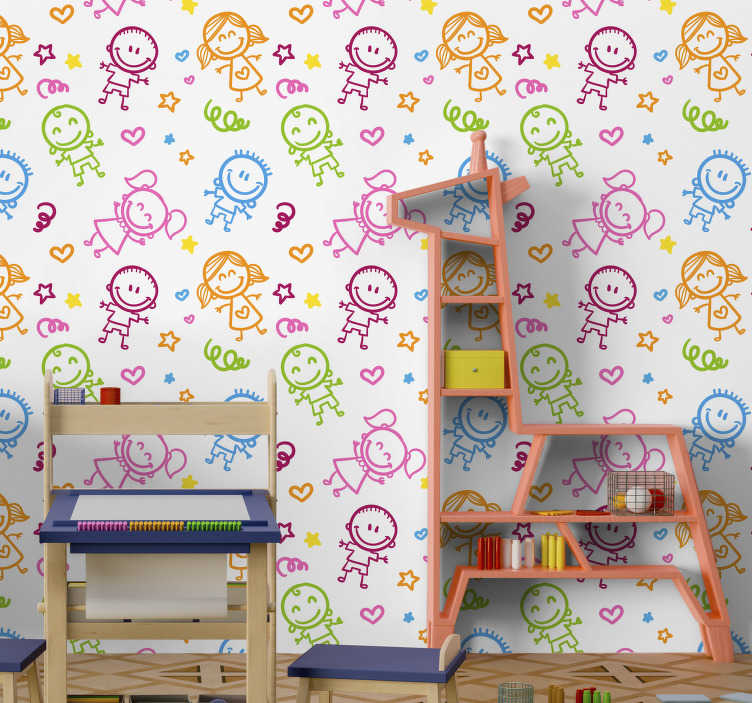 TenStickers. Infant boys and girls wall mural decal. Decorative wall mural sticker design of cartoon boys and girl with special features in colourful style and background to beautify any kid wall space.
