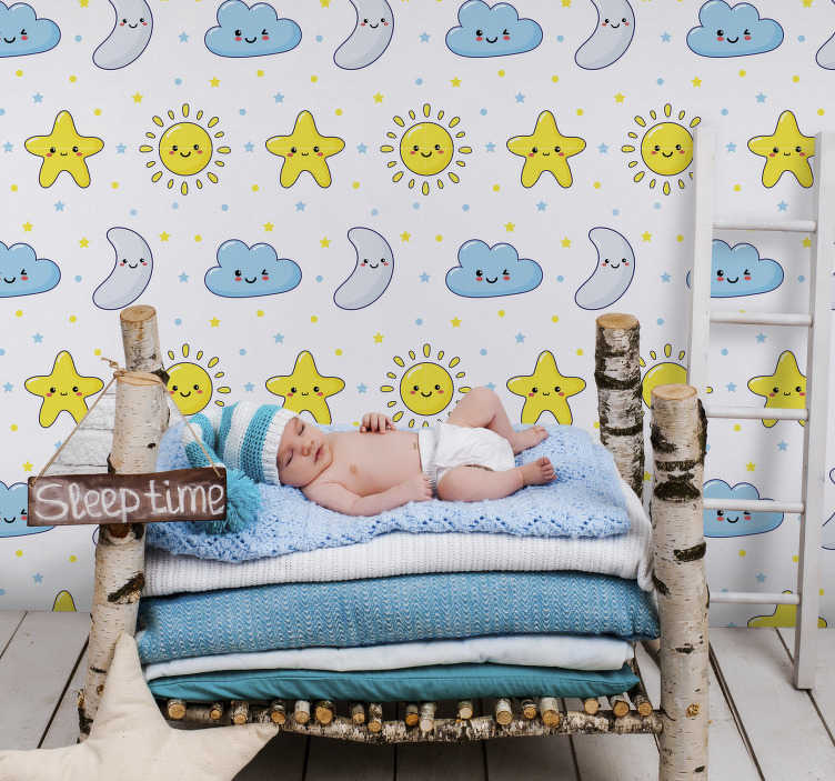 TenStickers. Childish starry wall wall mural decal. Child starry  wall mural sticker design of stars, moon and the cloud in funny faces ideal for the decoration of kids and infant space inn the home.