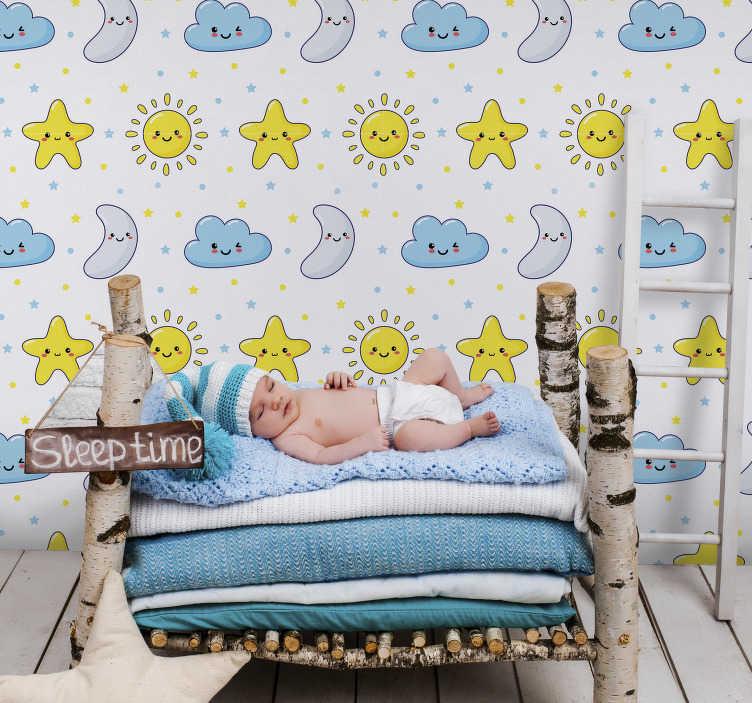 TENSTICKERS. 幼稚な星空壁壁画デカール. 子星空壁壁画ステッカーデザインの星、月と面白い顔の雲は、子供や幼児スペースインの家の装飾に最適です。