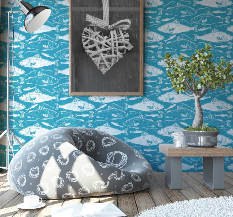 TenStickers. Sea of fish wall mural decal. Decorative wall mural sticker of sea fishes on the deep blue sea background to beautify the wall surface of the living room or any space in the home.