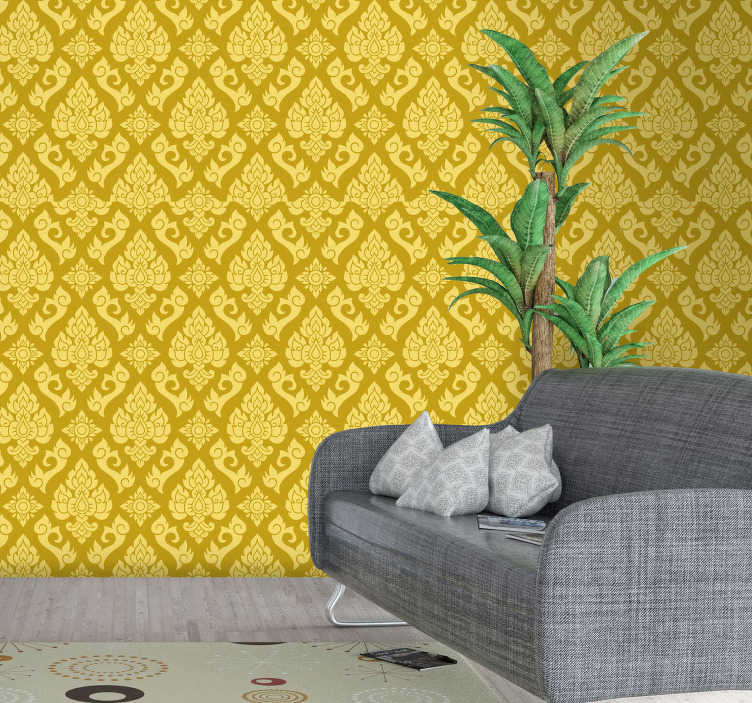 TenStickers. Thai pattern wall mural decal. Decorative wall mural sticker design of Thai pattern ornamental design to cover and beautify the wall surface in the home with style.