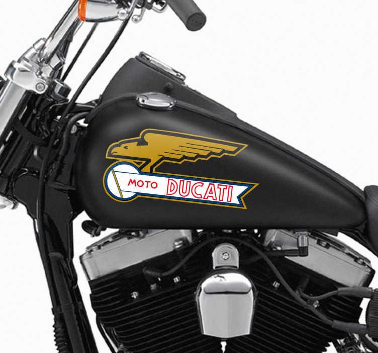 TenVinilo. Pegatina moto Ducati. Adhesivo reconocida marca de motocicletas italiana, representado por un ave rapaz alada. Una pegatina ideal para los fans de las motos que desean dar a conocer cuál es su marca favorita.