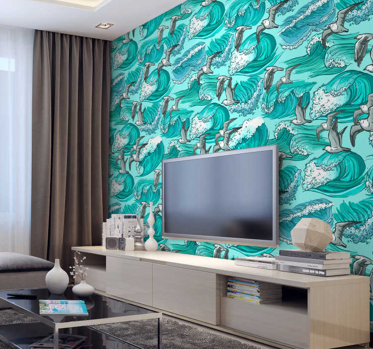 TenStickers. Waves and birds wall mural decal. Decorative wall mural sticker design with amazing background appearance of waves and birds flying to cover the wall surface of the living room space.