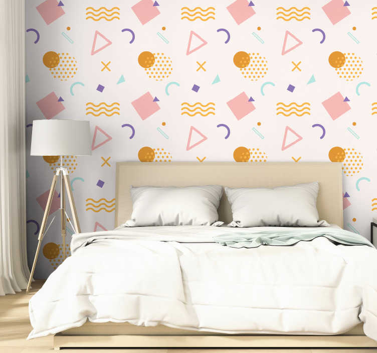 TenStickers. Memphis wall mural decal. Easy to apply decorative adhesive wall mural sticker of geometric shapes and pattern with colourful background for any wall space in the home.