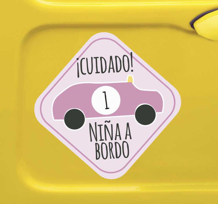 """TenVinilo. Vinilo adhesivo para coche cuidado niña a bordo. Compre nuestro vinilo de bebé a bordo para coche en el que vemos un automóvil con el número 1 y el texto """"niña de la ciudad a bordo"""". Fácil de colocar"""