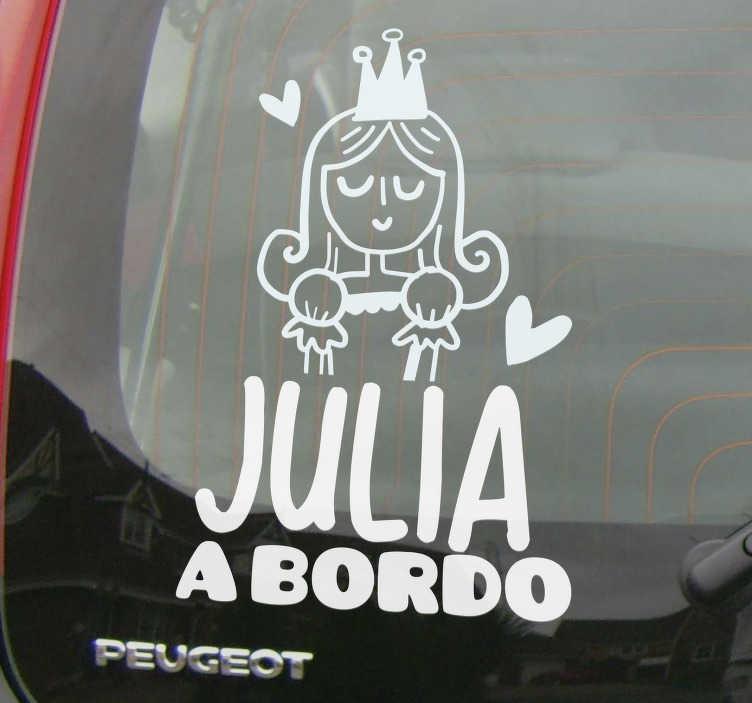 TenVinilo. Vinilo coche princesa a bordo con nombre. Vinilo coche personalizable de bebé a bordo con automóvil que tiene una niña con características de princesa. Elija el color y tamaño que necesite.