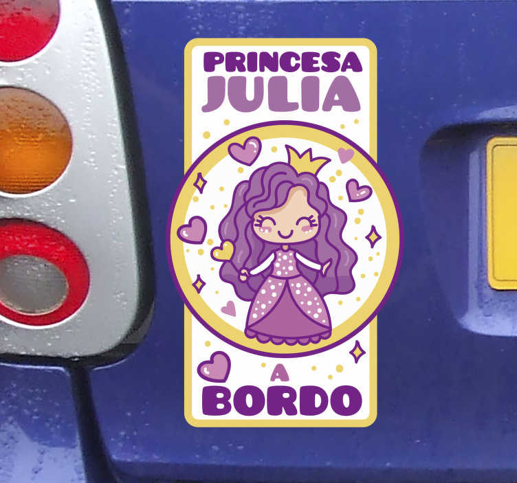 TenVinilo. Vinilo para coche princesa a bordo. Vinilo adhesivo para coche con nombre personalizable de bebé a bordo con una princesa de hadas en bonito fondo con estrellas y corazón. Elige tu tamaño.