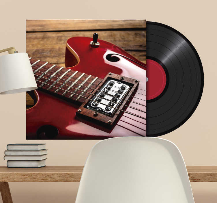 TenStickers. LP custom vinyl record rock wall decal. Decorative musical guitar with a record  wall decal to beautify any space in the home. You can customise the guitar space with your image choice.