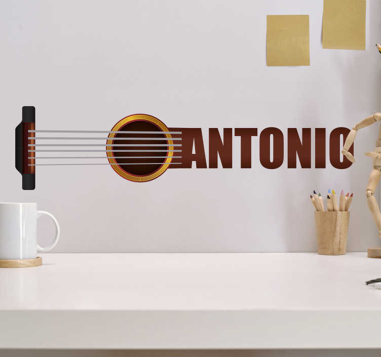 TenStickers. Spanish guitar with name music decal. Personalisable name Spanish guitar wall decal that you can have with your name on the guitar to decorate the wall space in the home.